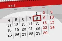 Calendar o planejador para o mês, dia da semana, sexta-feira do fim do prazo, o 8 de junho 2018 Imagem de Stock
