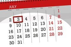 Calendar o planejador para o mês, dia da semana, terça-feira do fim do prazo, o 3 de julho 2018 ilustração stock