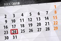 Calendar o planejador para o mês, dia da semana, terça-feira do fim do prazo, o 24 de julho 2018 Imagem de Stock Royalty Free