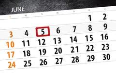 Calendar o planejador para o mês, dia da semana, terça-feira do fim do prazo, o 5 de junho 2018 Fotos de Stock Royalty Free