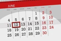 Calendar o planejador para o mês, dia da semana, terça-feira do fim do prazo, o 12 de junho 2018 Fotos de Stock Royalty Free