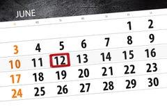 Calendar o planejador para o mês, dia da semana, terça-feira do fim do prazo, o 12 de junho 2018 Foto de Stock