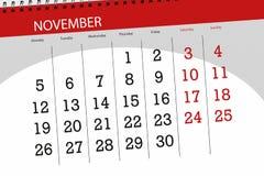 Calendar o planejador para o mês, dia do fim do prazo da semana 2018 novembro ilustração do vetor