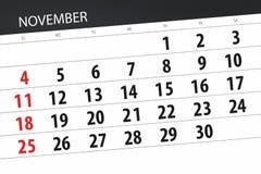 Calendar o planejador para o mês, dia do fim do prazo da semana 2018 novembro ilustração stock