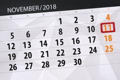 Calendar o planejador para o mês, dia do fim do prazo da semana 2018 novembro, 11, domingo ilustração do vetor