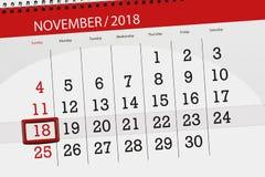 Calendar o planejador para o mês, dia do fim do prazo da semana 2018 novembro, 18, domingo ilustração do vetor