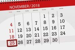 Calendar o planejador para o mês, dia do fim do prazo da semana 2018 novembro, 25, domingo ilustração royalty free