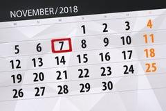 Calendar o planejador para o mês, dia do fim do prazo da semana 2018 novembro, 7, quarta-feira ilustração stock