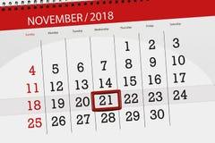 Calendar o planejador para o mês, dia do fim do prazo da semana 2018 novembro, 21, quarta-feira ilustração royalty free
