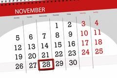 Calendar o planejador para o mês, dia do fim do prazo da semana 2018 novembro, 28, quarta-feira ilustração royalty free