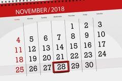 Calendar o planejador para o mês, dia do fim do prazo da semana 2018 novembro, 28, quarta-feira ilustração stock