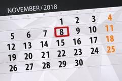Calendar o planejador para o mês, dia do fim do prazo da semana 2018 novembro, 8, quinta-feira ilustração do vetor