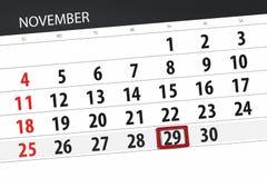 Calendar o planejador para o mês, dia do fim do prazo da semana 2018 novembro, 29, quinta-feira ilustração royalty free