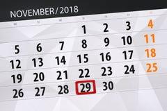Calendar o planejador para o mês, dia do fim do prazo da semana 2018 novembro, 29, quinta-feira ilustração do vetor