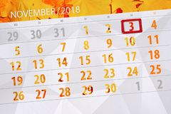 Calendar o planejador para o mês, dia do fim do prazo da semana 2018 novembro, 3, sábado ilustração do vetor