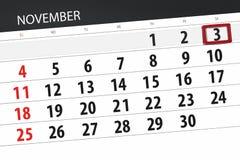 Calendar o planejador para o mês, dia do fim do prazo da semana 2018 novembro, 3, sábado ilustração royalty free
