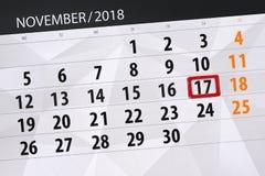 Calendar o planejador para o mês, dia do fim do prazo da semana 2018 novembro, 17, sábado ilustração royalty free