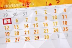 Calendar o planejador para o mês, dia do fim do prazo da semana 2018 novembro, 5, segunda-feira ilustração royalty free