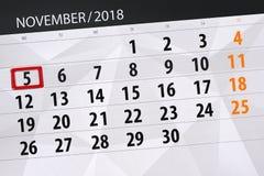 Calendar o planejador para o mês, dia do fim do prazo da semana 2018 novembro, 5, segunda-feira ilustração stock