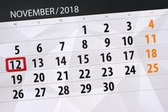 Calendar o planejador para o mês, dia do fim do prazo da semana 2018 novembro, 12, segunda-feira ilustração royalty free