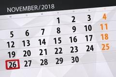 Calendar o planejador para o mês, dia do fim do prazo da semana 2018 novembro, 26, segunda-feira ilustração royalty free
