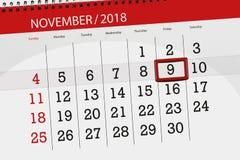 Calendar o planejador para o mês, dia do fim do prazo da semana 2018 novembro, 9, sexta-feira ilustração royalty free