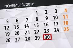Calendar o planejador para o mês, dia do fim do prazo da semana 2018 novembro, 30, sexta-feira ilustração do vetor