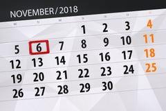 Calendar o planejador para o mês, dia do fim do prazo da semana 2018 novembro, 6, terça-feira ilustração royalty free