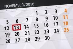 Calendar o planejador para o mês, dia do fim do prazo da semana 2018 novembro, 13, terça-feira ilustração stock