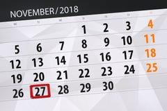 Calendar o planejador para o mês, dia do fim do prazo da semana 2018 novembro, 27, terça-feira ilustração do vetor