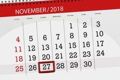 Calendar o planejador para o mês, dia do fim do prazo da semana 2018 novembro, 27, terça-feira ilustração royalty free