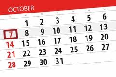 Calendar o planejador para o mês, dia do fim do prazo da semana 2018 outubro, 7, domingo ilustração stock