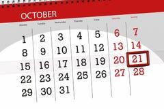 Calendar o planejador para o mês, dia do fim do prazo da semana 2018 outubro, 21, domingo ilustração royalty free