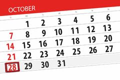 Calendar o planejador para o mês, dia do fim do prazo da semana 2018 outubro, 28, domingo ilustração do vetor