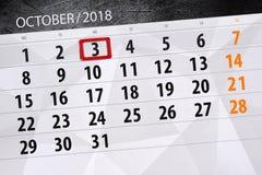 Calendar o planejador para o mês, dia do fim do prazo da semana 2018 outubro, 3, quarta-feira ilustração do vetor