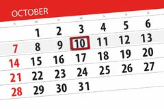 Calendar o planejador para o mês, dia do fim do prazo da semana 2018 outubro, 10, quarta-feira ilustração do vetor