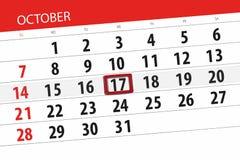 Calendar o planejador para o mês, dia do fim do prazo da semana 2018 outubro, 17, quarta-feira ilustração stock