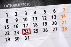 Calendar o planejador para o mês, dia do fim do prazo da semana 2018 outubro, 24, quarta-feira ilustração do vetor