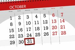 Calendar o planejador para o mês, dia do fim do prazo da semana 2018 outubro, 31, quarta-feira ilustração do vetor