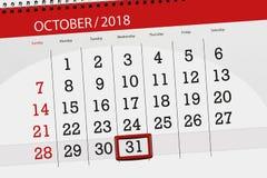 Calendar o planejador para o mês, dia do fim do prazo da semana 2018 outubro, 31, quarta-feira foto de stock royalty free