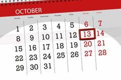 Calendar o planejador para o mês, dia do fim do prazo da semana 2018 outubro, 13, sábado ilustração stock