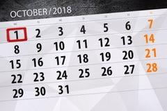 Calendar o planejador para o mês, dia do fim do prazo da semana 2018 outubro, 1, segunda-feira ilustração do vetor