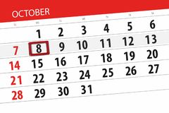 Calendar o planejador para o mês, dia do fim do prazo da semana 2018 outubro, 8, segunda-feira ilustração royalty free
