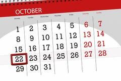 Calendar o planejador para o mês, dia do fim do prazo da semana 2018 outubro, 22, segunda-feira ilustração royalty free