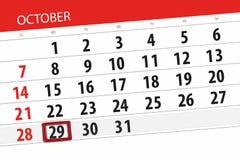 Calendar o planejador para o mês, dia do fim do prazo da semana 2018 outubro, 29, segunda-feira ilustração royalty free
