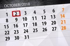 Calendar o planejador para o mês, dia do fim do prazo da semana 2018 outubro, 2, terça-feira ilustração stock
