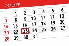 Calendar o planejador para o mês, dia do fim do prazo da semana 2018 outubro, 23, terça-feira ilustração stock