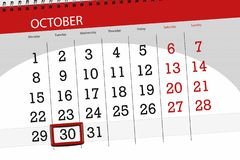 Calendar o planejador para o mês, dia do fim do prazo da semana 2018 outubro, 30, terça-feira ilustração stock