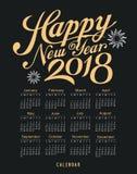 Calendar o preto 2018 e o ouro da mensagem do ano novo feliz Fotos de Stock