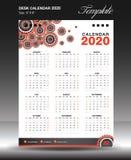 calendar 2020 o vertical da polegada do tamanho 6x8 do ano, começo domingo da semana, inseto do negócio, fundo alaranjado, vetor ilustração do vetor